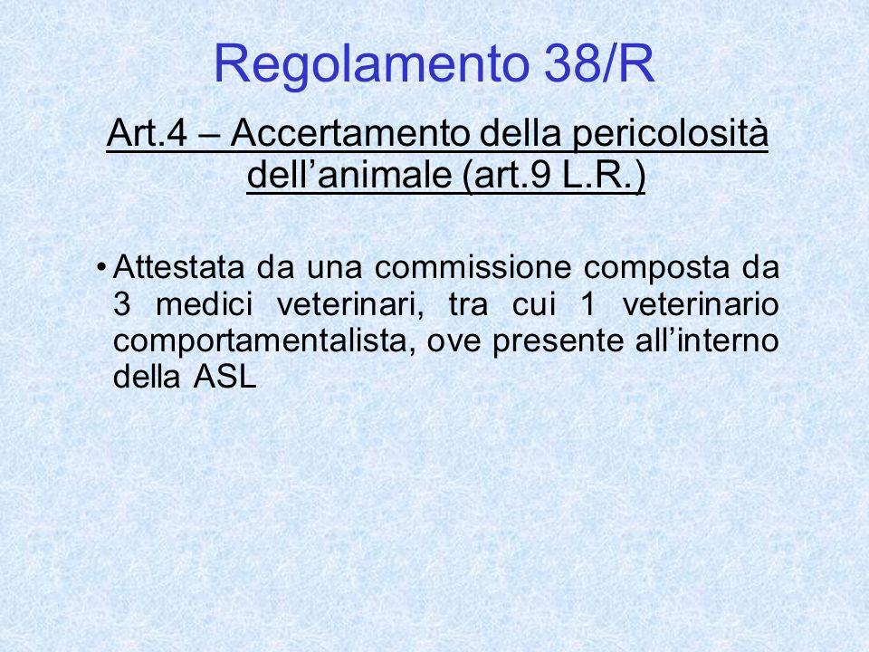 Art.4 – Accertamento della pericolosità dell'animale (art.9 L.R.)