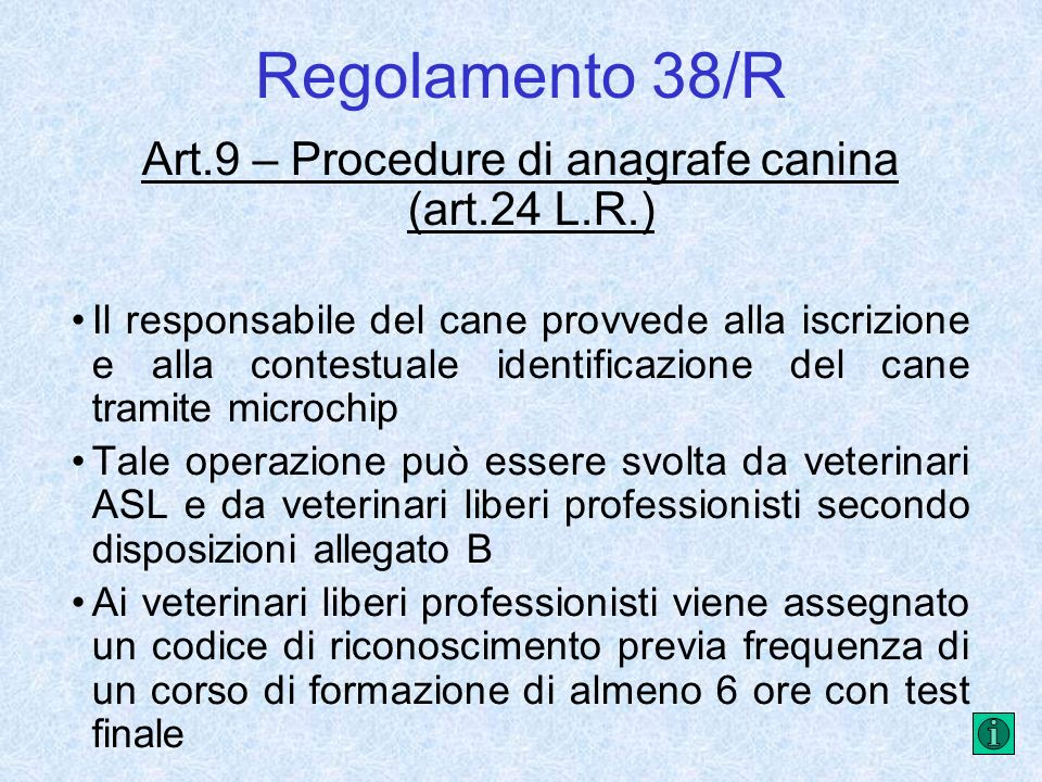 Art.9 – Procedure di anagrafe canina (art.24 L.R.)
