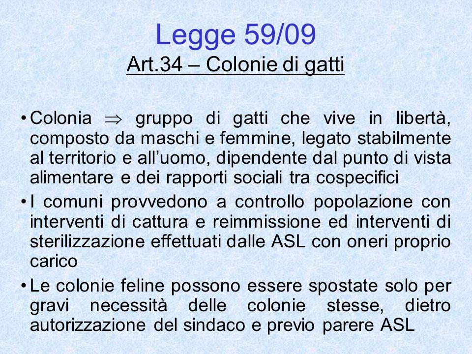 Legge 59/09 Art.34 – Colonie di gatti