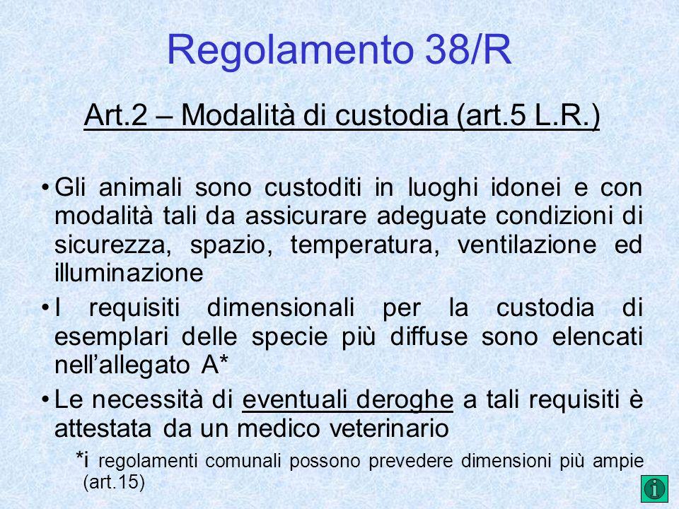 Art.2 – Modalità di custodia (art.5 L.R.)