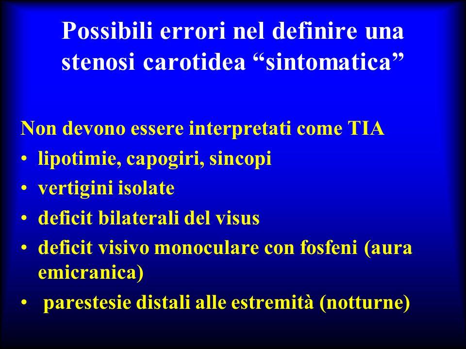 Possibili errori nel definire una stenosi carotidea sintomatica