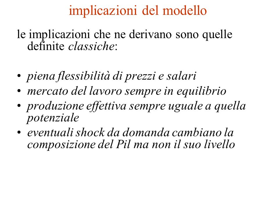 implicazioni del modello