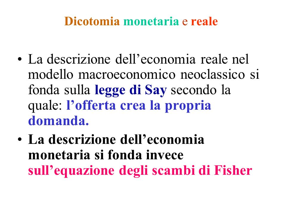 Dicotomia monetaria e reale