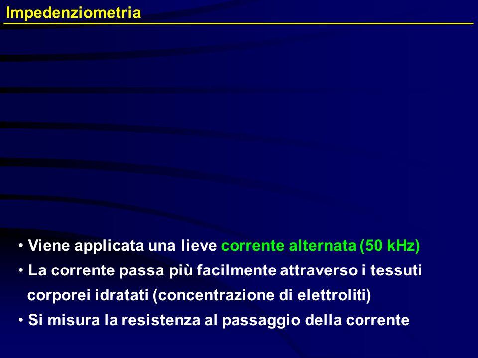 Impedenziometria Viene applicata una lieve corrente alternata (50 kHz) La corrente passa più facilmente attraverso i tessuti.