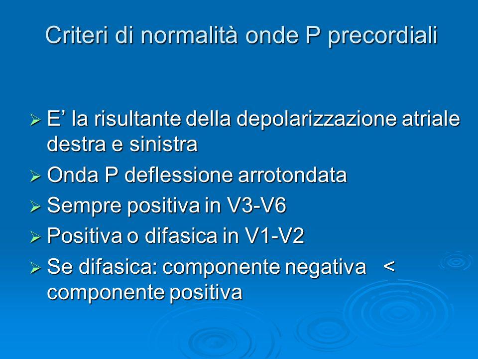 Criteri di normalità onde P precordiali