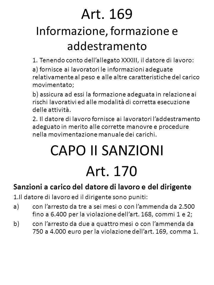 Art. 169 Informazione, formazione e addestramento