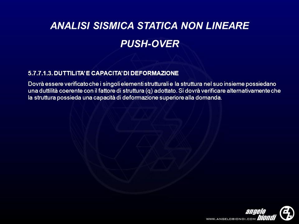 ANALISI SISMICA STATICA NON LINEARE