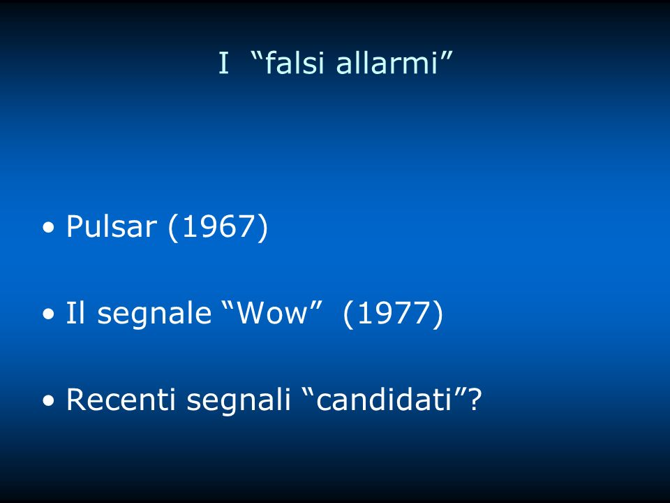 I falsi allarmi Pulsar (1967) Il segnale Wow (1977) Recenti segnali candidati