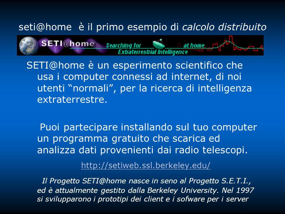 seti@home è il primo esempio di calcolo distribuito