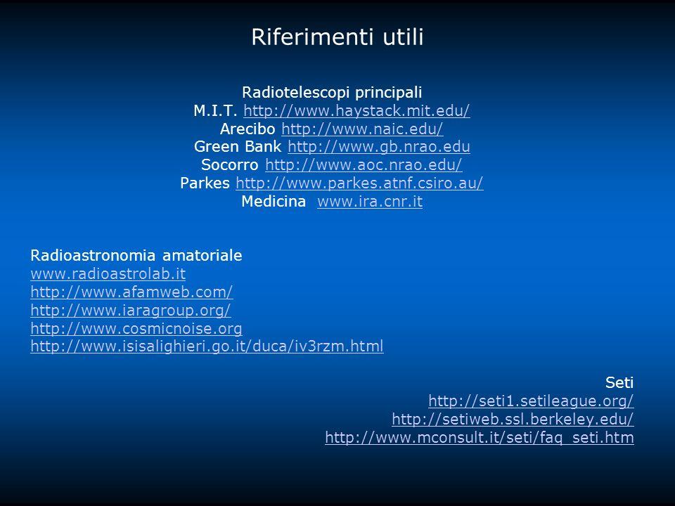 Riferimenti utili Radiotelescopi principali