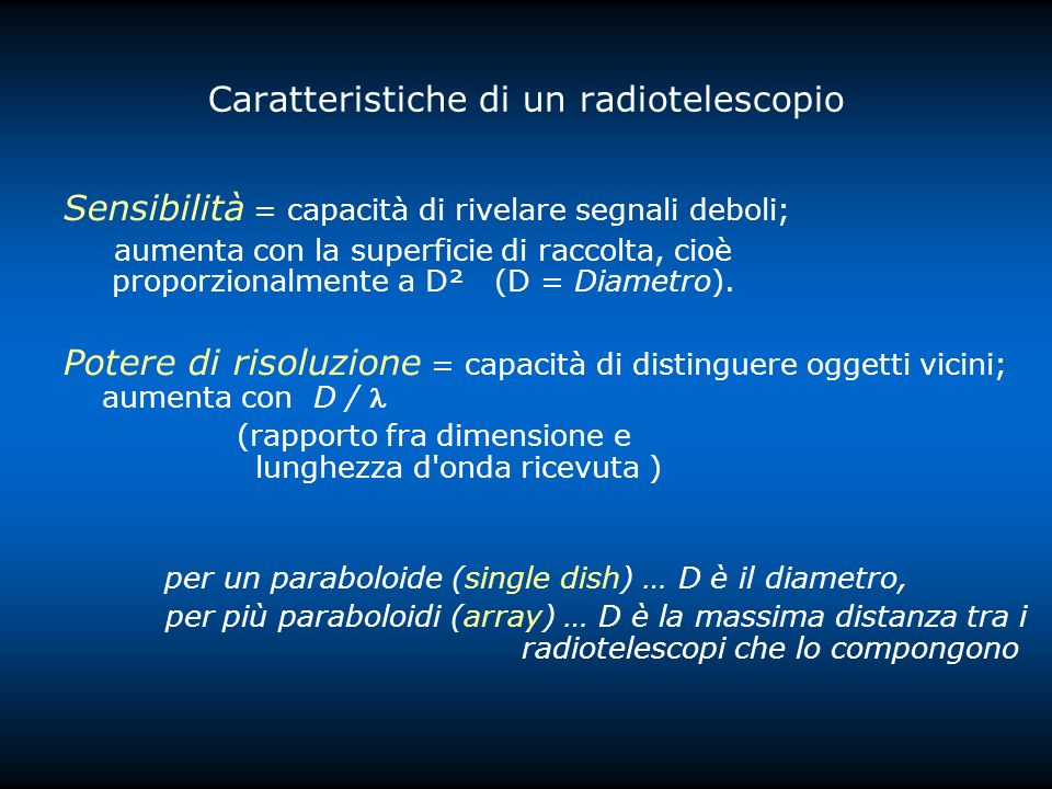 Caratteristiche di un radiotelescopio