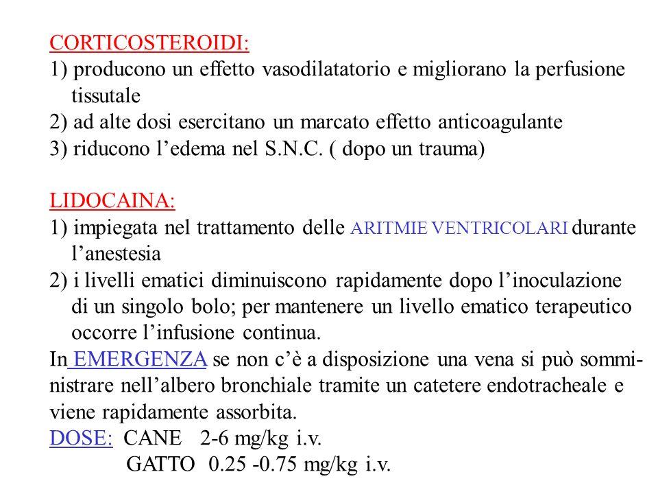 CORTICOSTEROIDI: 1) producono un effetto vasodilatatorio e migliorano la perfusione. tissutale.