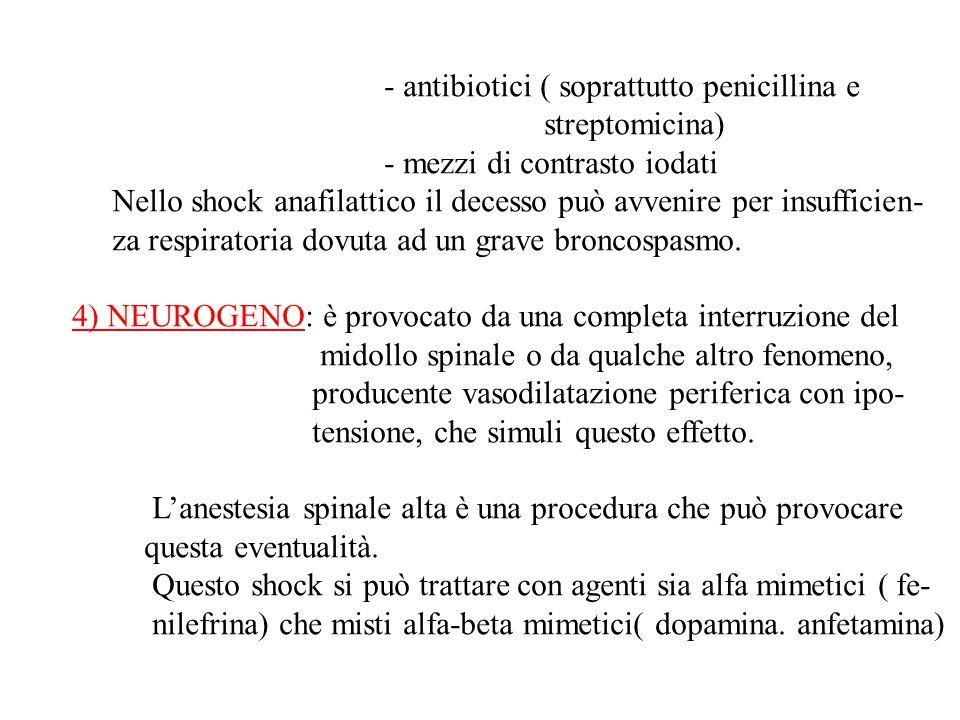- antibiotici ( soprattutto penicillina e