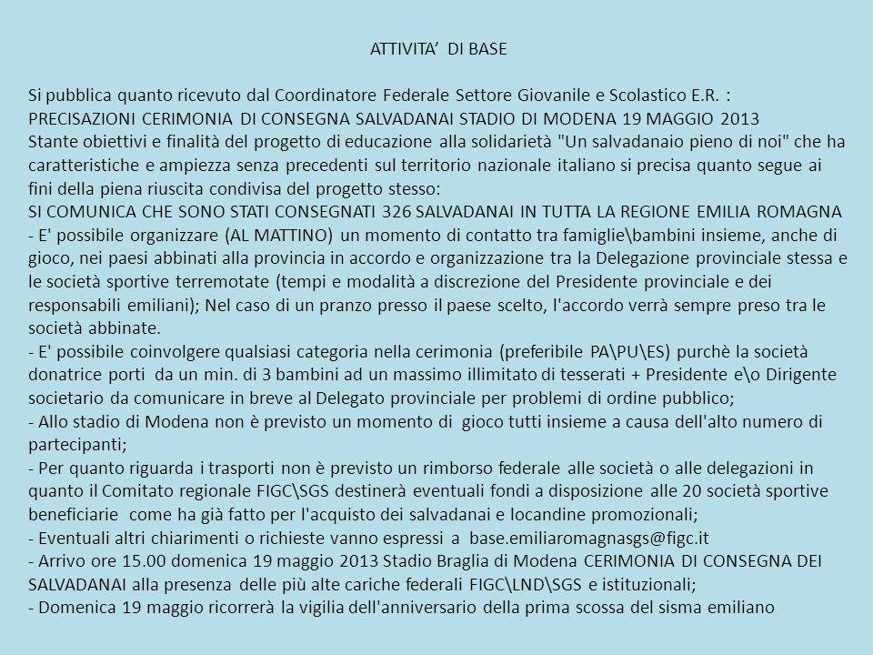ATTIVITA' DI BASE Si pubblica quanto ricevuto dal Coordinatore Federale Settore Giovanile e Scolastico E.R. :