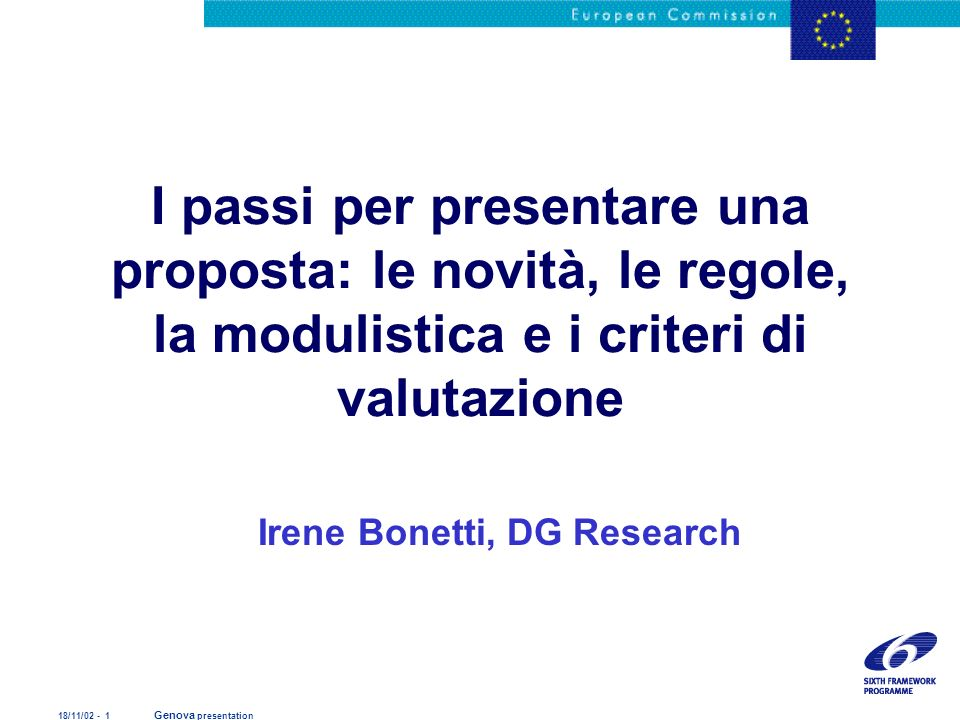 Proposal submission and evaluation Irene Bonetti, DG Research