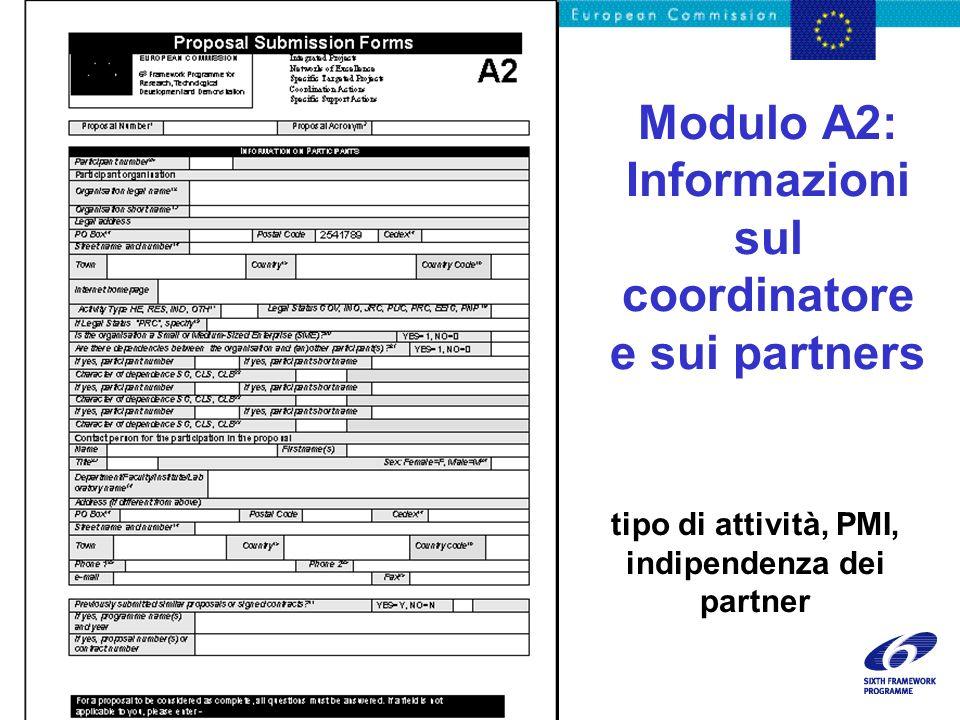 Modulo A2: Informazioni sul coordinatore e sui partners