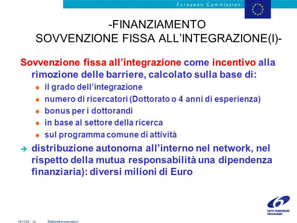 -FINANZIAMENTO SOVVENZIONE FISSA ALL'INTEGRAZIONE(I)-