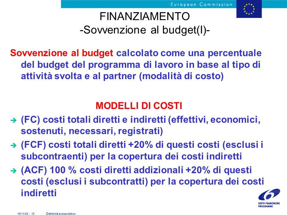 FINANZIAMENTO -Sovvenzione al budget(I)-