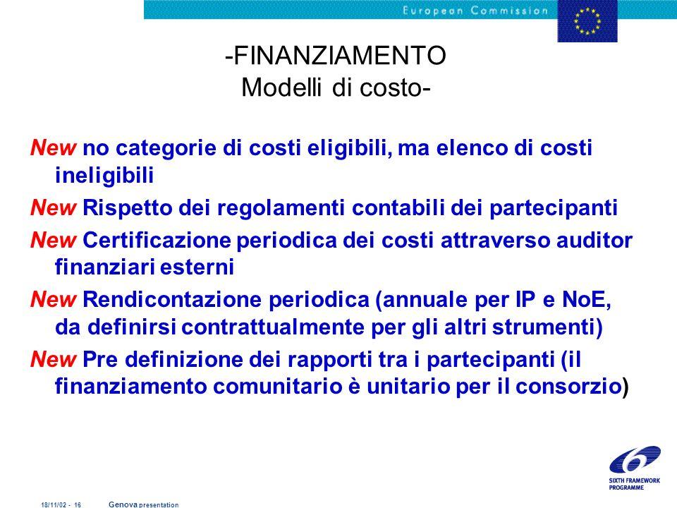 -FINANZIAMENTO Modelli di costo-