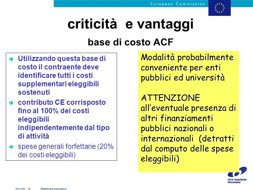 criticità e vantaggi base di costo ACF