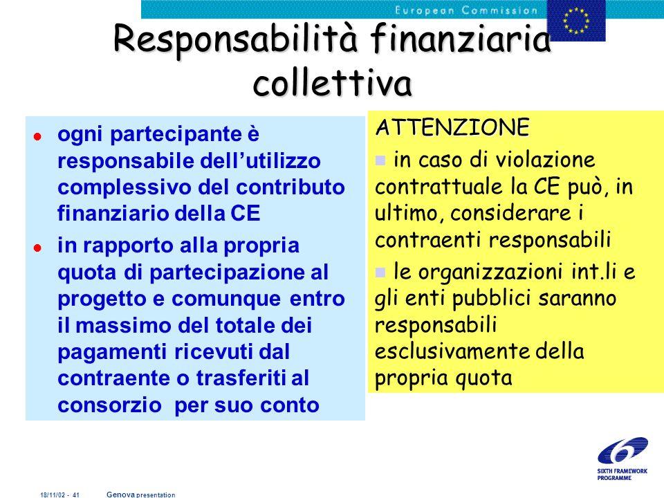 Responsabilità finanziaria collettiva