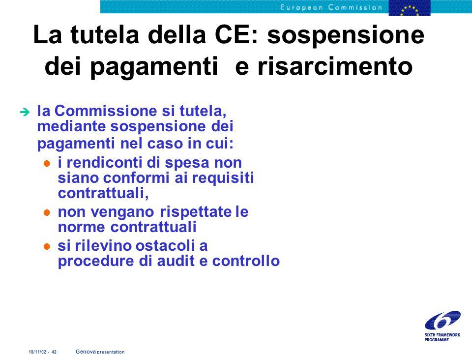 La tutela della CE: sospensione dei pagamenti e risarcimento