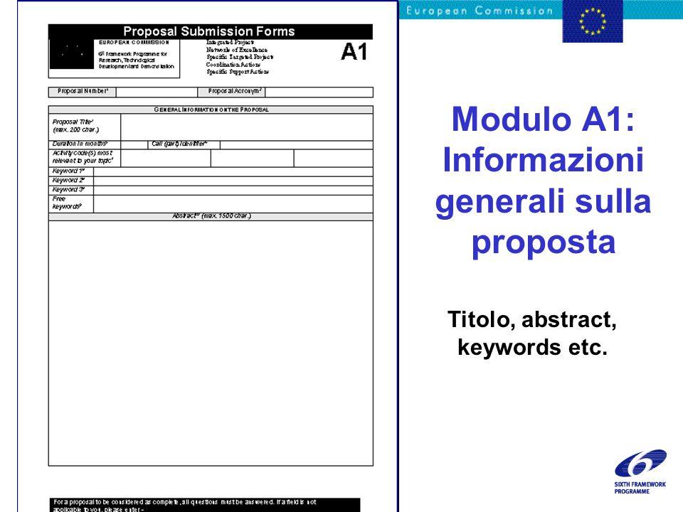 Modulo A1: Informazioni generali sulla proposta