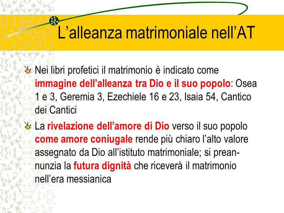 L'alleanza matrimoniale nell'AT