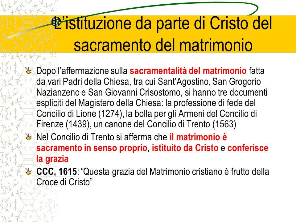 L'istituzione da parte di Cristo del sacramento del matrimonio