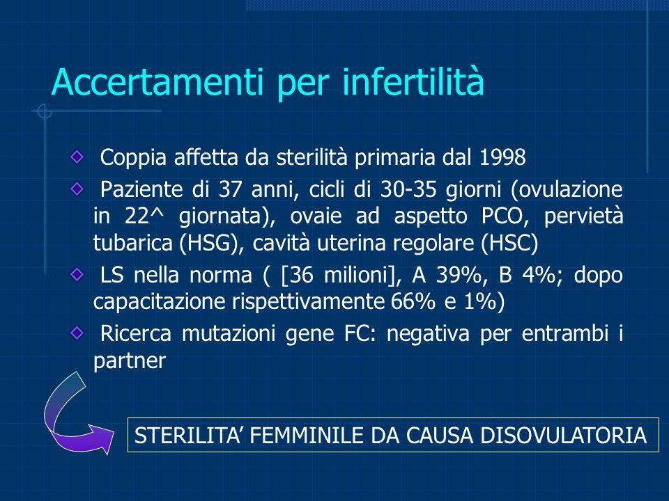 Accertamenti per infertilità