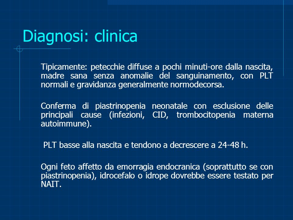 Diagnosi: clinica