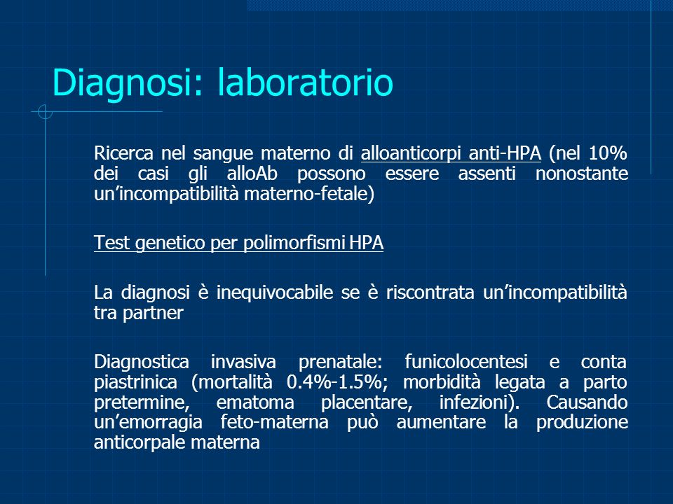 Diagnosi: laboratorio