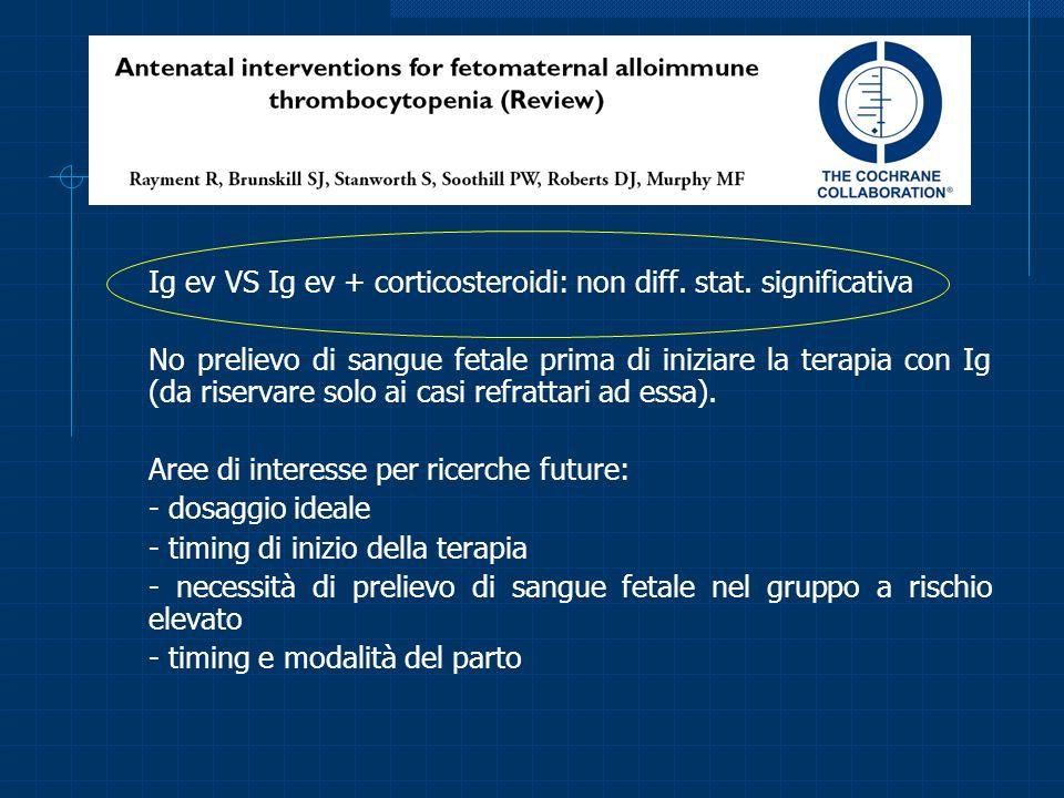 Ig ev VS Ig ev + corticosteroidi: non diff. stat. significativa