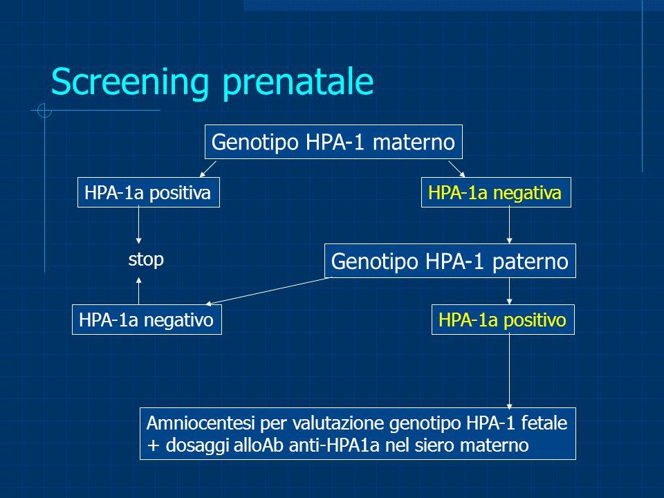 Screening prenatale Genotipo HPA-1 materno Genotipo HPA-1 paterno