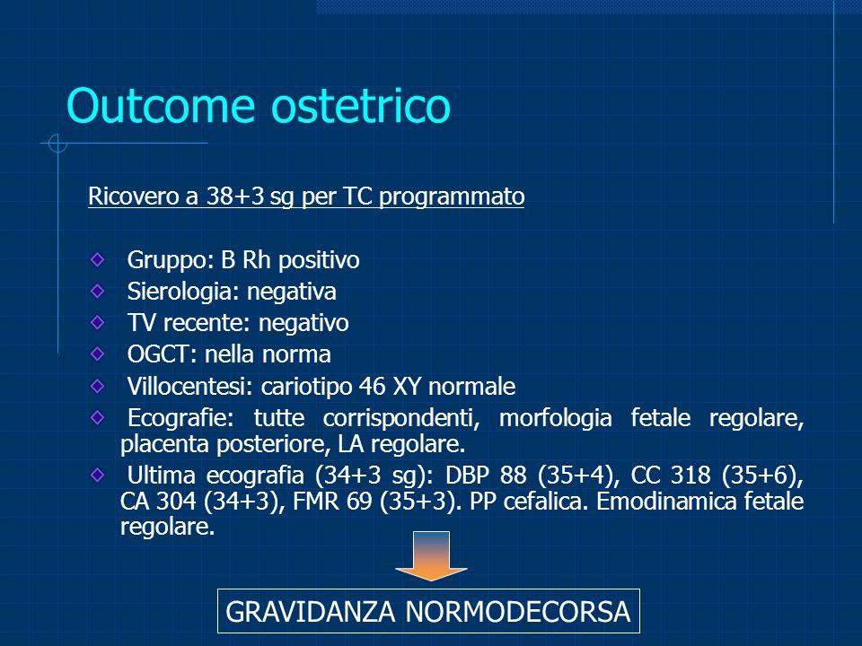 Outcome ostetrico GRAVIDANZA NORMODECORSA