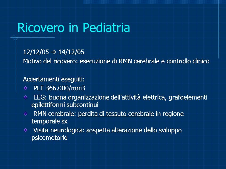Ricovero in Pediatria 12/12/05  14/12/05