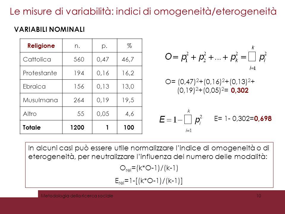 Le misure di variabilità: indici di omogeneità/eterogeneità