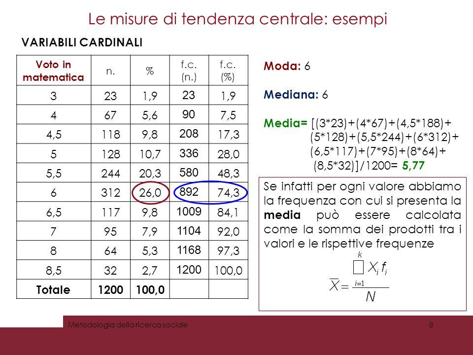 Le misure di tendenza centrale: esempi