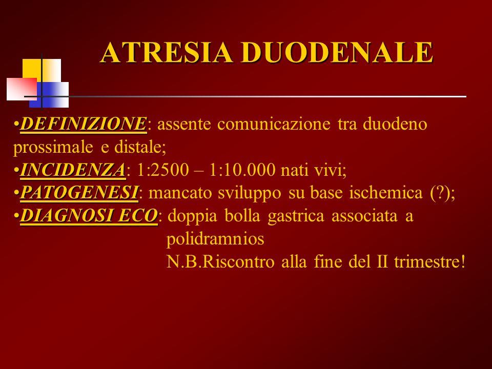 ATRESIA DUODENALE DEFINIZIONE: assente comunicazione tra duodeno prossimale e distale; INCIDENZA: 1:2500 – 1:10.000 nati vivi;