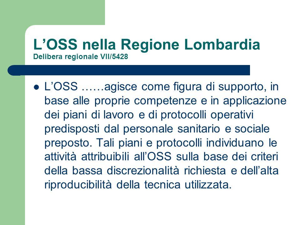 L'OSS nella Regione Lombardia Delibera regionale VII/5428