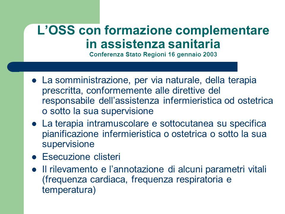 L'OSS con formazione complementare in assistenza sanitaria Conferenza Stato Regioni 16 gennaio 2003