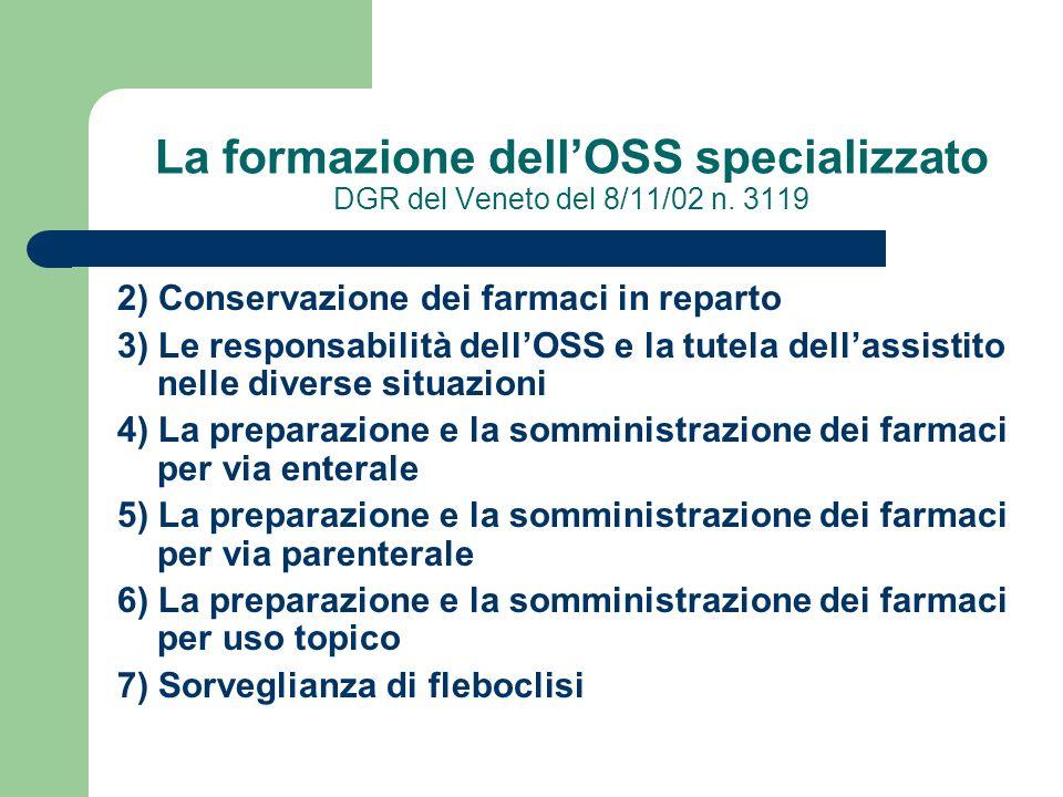 La formazione dell'OSS specializzato DGR del Veneto del 8/11/02 n. 3119