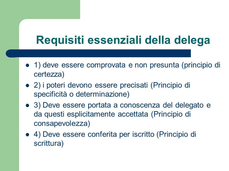 Requisiti essenziali della delega