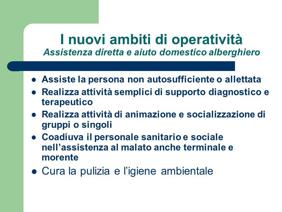 I nuovi ambiti di operatività Assistenza diretta e aiuto domestico alberghiero