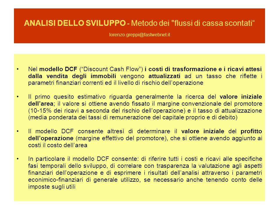 ANALISI DELLO SVILUPPO - Metodo dei flussi di cassa scontati lorenzo