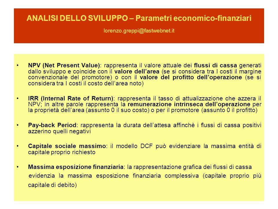 ANALISI DELLO SVILUPPO – Parametri economico-finanziari lorenzo