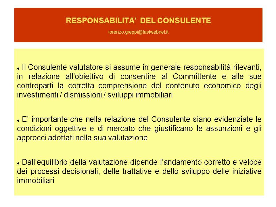 RESPONSABILITA DEL CONSULENTE lorenzo.greppi@fastwebnet.it