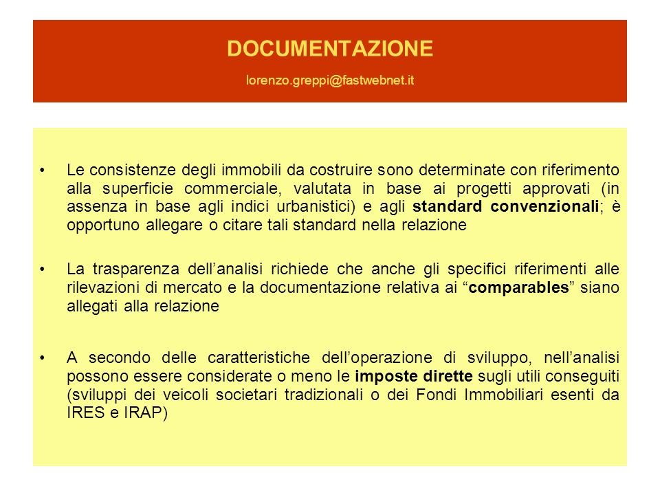 DOCUMENTAZIONE lorenzo.greppi@fastwebnet.it