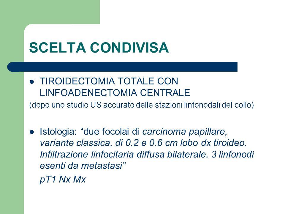 SCELTA CONDIVISA TIROIDECTOMIA TOTALE CON LINFOADENECTOMIA CENTRALE