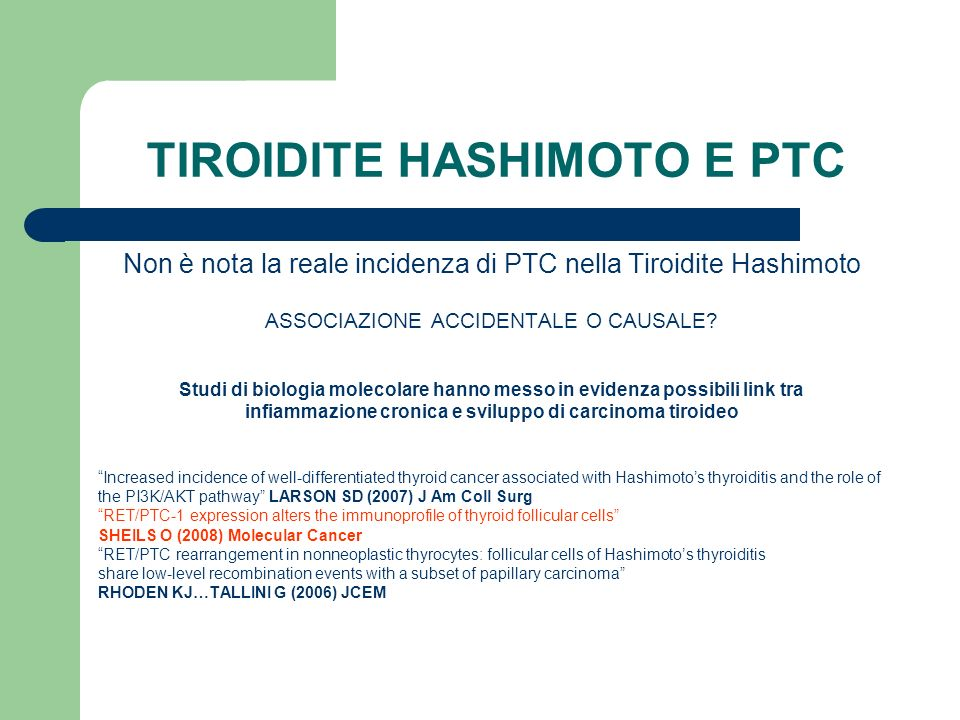 TIROIDITE HASHIMOTO E PTC